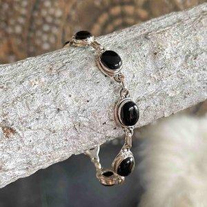 Zilveren edelsteen armband black onyx Ziva