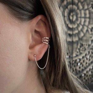 Zilveren chain earcuff Tre
