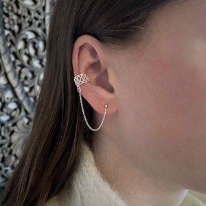 Zilveren chain earcuff Mare