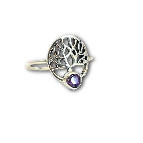 Zilveren ring Amethist tree of life