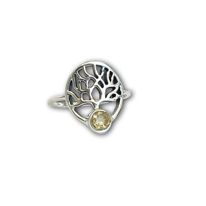 Zilveren ring Citrien tree of life