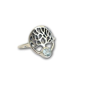 Zilveren ring Green amethist tree of life