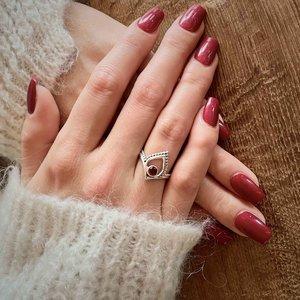 Zilveren ring Paisley Garnet