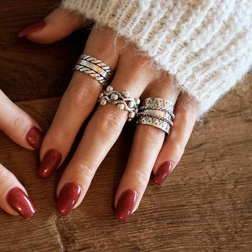 Zilveren Boho ring Margaretha