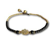 Enkelbandje lotus black agate