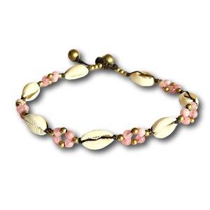 Enkelbandje schelpjes roze