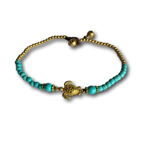 Enkelbandje turquoise schildpad