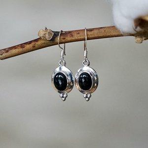Zilveren oorbellen Black Onyx Rania