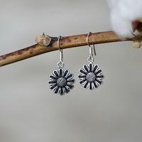 Zilveren oorbellen Sun Flower
