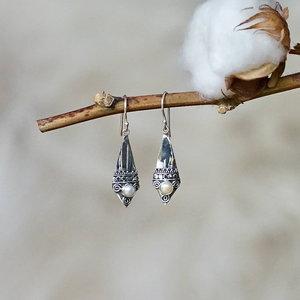 Zilveren oorbellen Bali Pearl