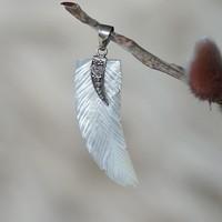 Zilveren Feather Shell hanger