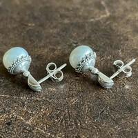 Zilveren oorknopjes Pearl