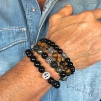 Kralen armband Black Onyx Buddha