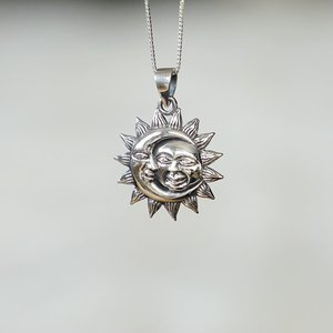 Zilveren hanger Sun & Moon