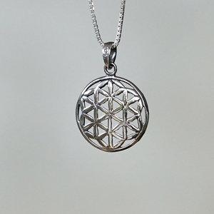 Zilveren hanger Flower of Life