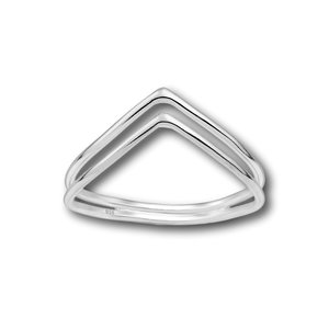 Zilveren ring double chevron