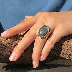 Zilveren ring Labradoriet Anello