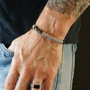 Bali style armband zilver & leer