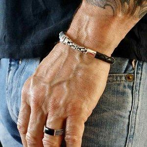 Bali style schakel armband zilver & leer