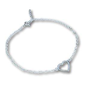 Zilveren enkelbandje hartje