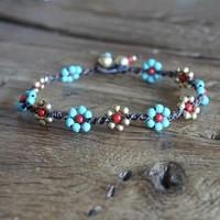 Enkelbandje flower power turquoise