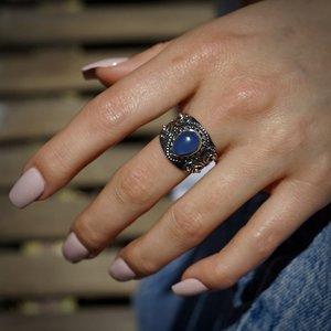 Zilveren ring  Blauwe Chalcedoon Divya