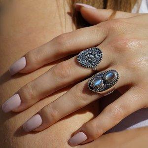 Zilveren ring double Labradoriet