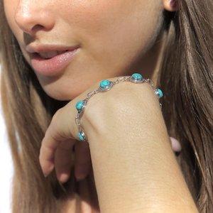 Zilveren edelsteen armband Turquoise Taranki