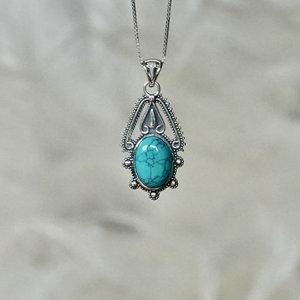 Zilveren hanger Turquoise Zina
