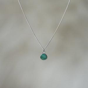 Zilveren ketting Smaragd