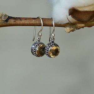 Zilveren oorbellen Citrien Susut