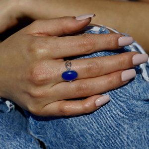 Zilveren ring met Blauwe Chalcedoon Jira