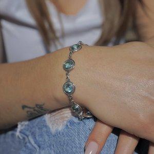 Zilveren edelsteen armband blauwe Topaas