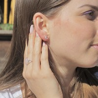 Zilveren oorknopjes Rozenkwarts