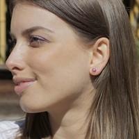 Zilveren oorknopjes Robijn