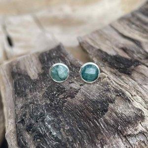 Zilveren oorknopjes Smaragd