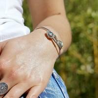 Zilveren bangle armband Labradoriet