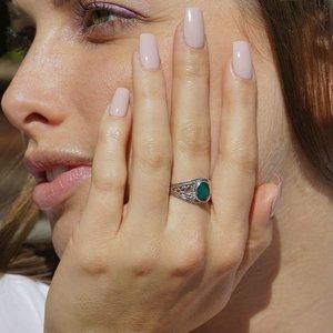Zilveren ring met Smaragd Vanida