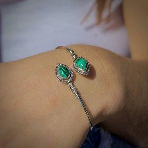 Zilveren bangle armband Malachiet
