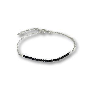 Zilveren armbandje zwarte Spinel