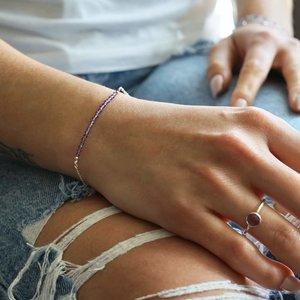 Zilveren armbandje Amethist