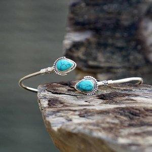 Zilveren edelsteen bangle Turquoise