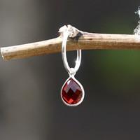 Edelsteen oorring bedel rode Granaat