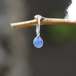 Edelsteen oorbedel blauwe Chalcedoon