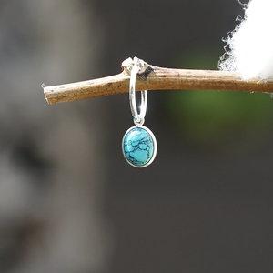 Edelsteen oorring bedel Turquoise