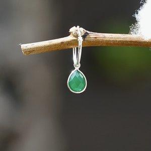 Edelsteen oorring bedel Smaragd