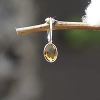 Zilveren oorring bedel Citrien