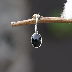 Edelsteen oorring bedel Black Onyx