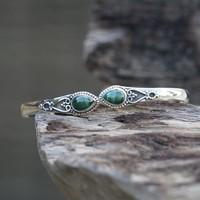 Zilveren edelsteen armband Vanida Malachiet