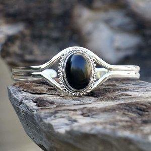 Zilveren edelsteen armband Black Onyx